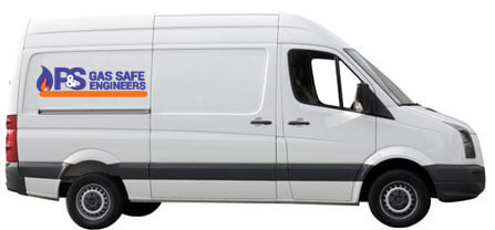 White van with company logo Landlord Gas Safety Certificate P & S Gas Safe Engineers London